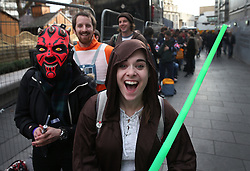 © Licensed to London News Pictures. 16/12/2015. London, UK. Fans gather in Leicester Square ahead of the UK premiere of Star Wars: The Force Awakens. Photo credit: Peter Macdiarmid/LNP