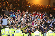 Dundee fans in good mood as their side win the derby - Dundee v Dundee United - SPFL Premiership at Dens Park<br /> <br />  - &copy; David Young - www.davidyoungphoto.co.uk - email: davidyoungphoto@gmail.com