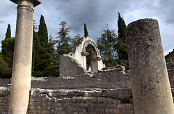 This huge arch is one of the prime sights for those walking down the long stone main street of La Villasse (Vasio in 1st century BC). The Roman site of La Villasse is in the heart of today's Vaison-la-Romaine, Ventoux, Provence, France.
