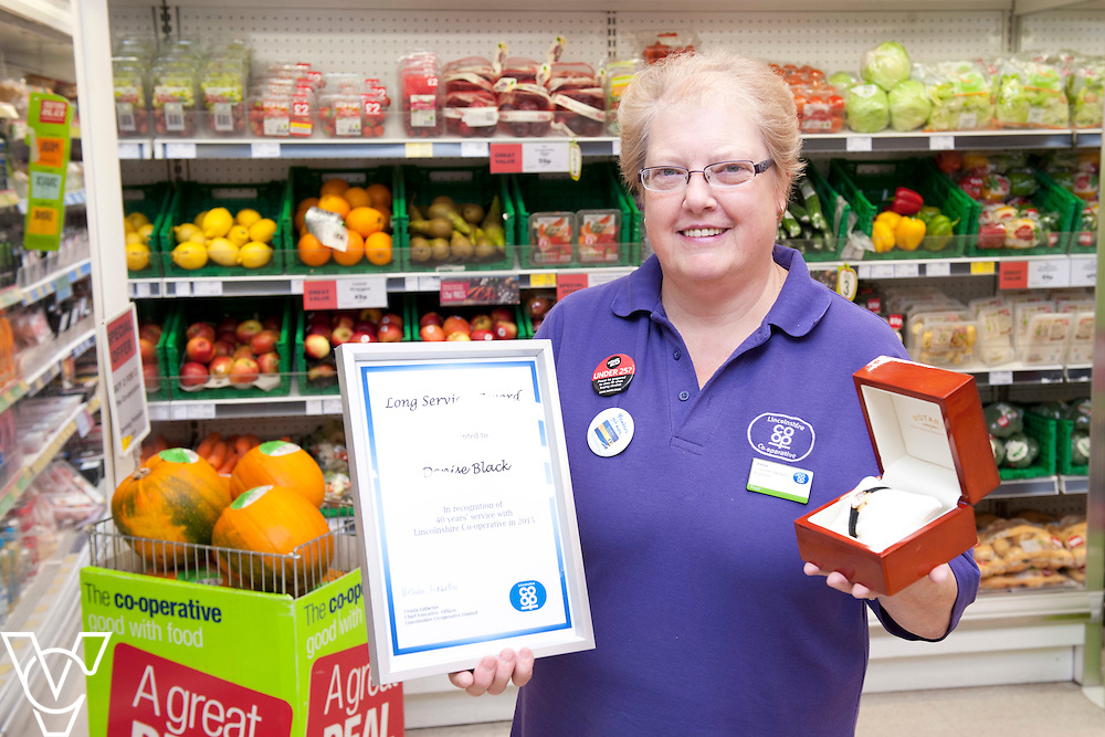 Denise Black, pictured, has who works at the Lincolnshire Co-operative Nunsthorpe food store, in Grimsby, has worked for the company for 40 years!<br /> <br /> Picture: Chris Vaughan/Chris Vaughan Photography<br /> Date: October 23, 2015