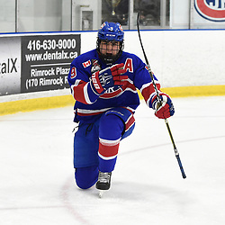 TORONTO, ON  - OCT 29,  2017: Ontario Junior Hockey League game between the Toronto Jr. Canadiens and the Toronto Patriots, Jake Joffe #9 of the Toronto Jr. Canadiens celebrates the goal during the second period.<br /> (Photo by Andy Corneau / OJHL Images)