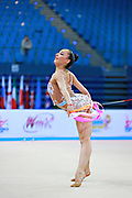 Pazhava Salome during qualifying at ribbon in Pesaro World Cup at Adriatic Arena on 11 April 2015. Salome was born on September 3 1997 in Tbilisi. She is a Georgian individual rhythmic gymnast.