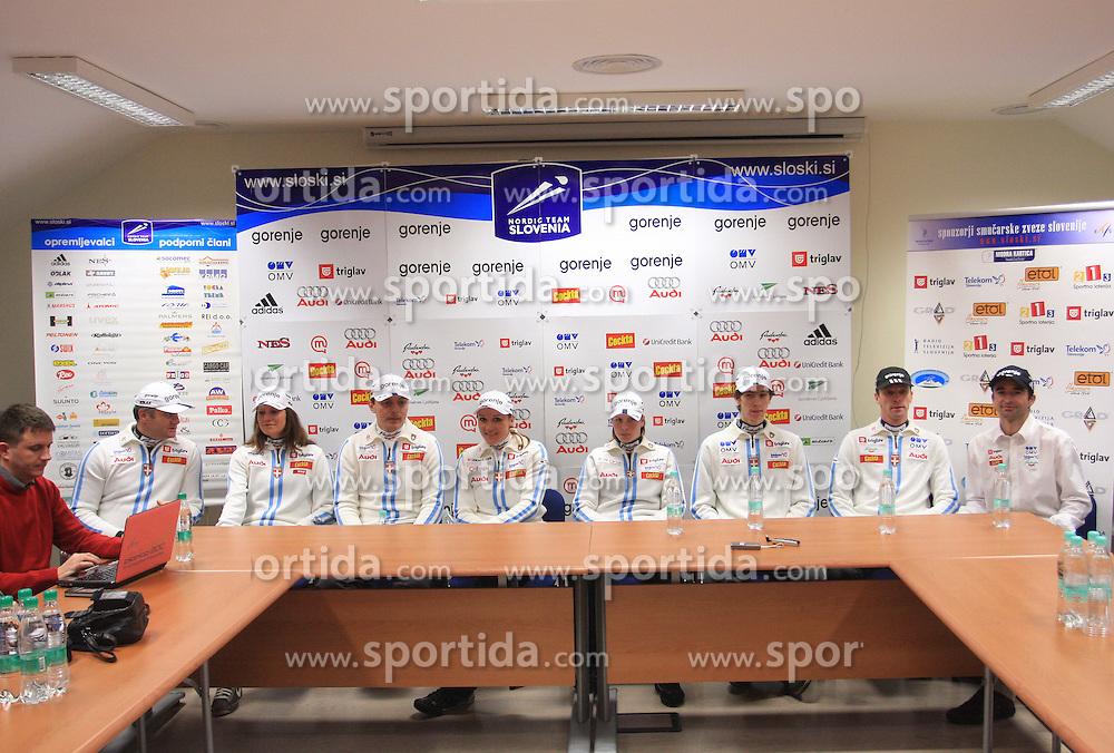 Trbovc, Gracer, Visnar, Hudac, Majdic, Fabjan, Sinkovec, Zupan and Petek at press conference of Slovenian Nordic team after victory of P. Majdic in Davos (Switzerland), on December 15, 2008, in Ljubljana, Slovenia. (Photo by Vid Ponikvar / Sportida)