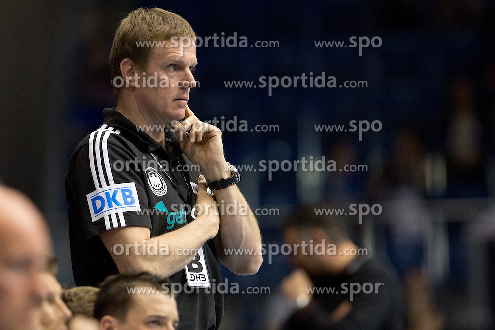 04.05.2013, Getec-Arena, Magdeburg, GER, EHF Testspiel, Deutschland vs Slowenien, im Bild Nationaltrainer Martin HEUBERGER (Deutschland) nachdenklich // during the International Friendly Handball Match between Germany and Slovenia at the Getec-Arena, Magdeburg, Germany on 2013/05/04. EXPA Pictures © 2013, PhotoCredit: EXPA/ Eibner/ Schulz..***** ATTENTION - OUT OF GER *****