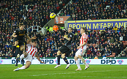 STOKE-ON-TRENT, ENGLAND - Boxing Day Wednesday, December 26, 2012: Liverpool's captain Steven Gerrard sees his shot blocked against Stoke City during the Premiership match at the Britannia Stadium. (Pic by David Rawcliffe/Propaganda)