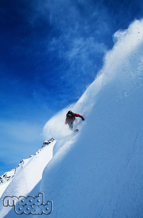 Snowboarder on steep slope