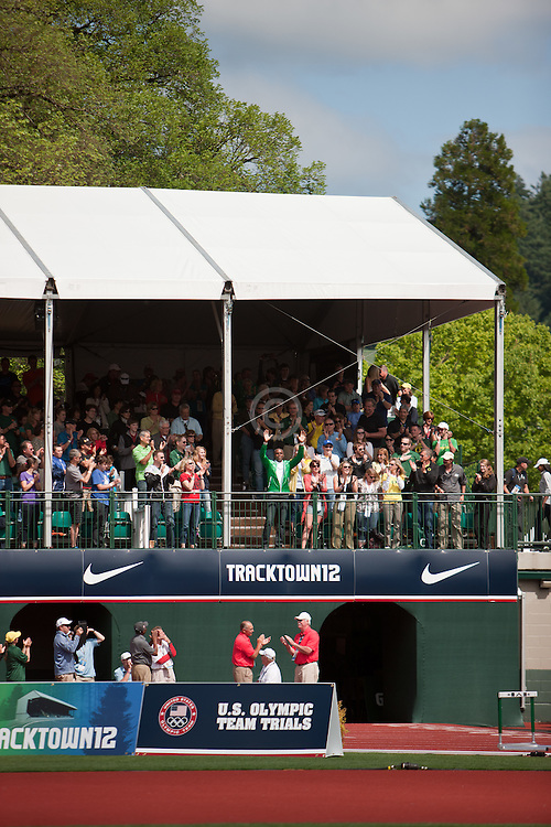 2012 USA Track & Field Olympic Trials: Carl Lewis waves from the stands
