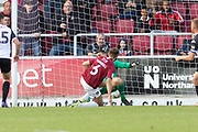 GOAL Jordan Turnbull (6) scores Northampton's 2nd during the EFL Sky Bet League 2 match between Northampton Town and Salford City at the PTS Academy Stadium, Northampton, England on 19 October 2019.
