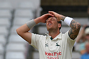 Anguish for James Pattinson during the Specsavers County Champ Div 2 match between Nottinghamshire County Cricket Club and Kent County Cricket Club at Trent Bridge, West Bridgford, United Kingdom on 26 June 2017. Photo by Simon Trafford.