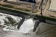 Nederland, Groningen, Eemshaven, 01-05-2013; koelwater uitlaat  Magnum multi-fuel centrale van Nuon. .Cooling water outlet of the multi-fuel power plant of Nuon. .luchtfoto (toeslag op standard tarieven).aerial photo (additional fee required).copyright foto/photo Siebe Swart