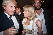 RACHEL JOHNSON; BORIS JOHNSON; CHARLIE MCVEIGH, Party to celebrate the publication of 'Winter Games' by Rachel Johnson. the Draft House, Tower Bridge. London. 1 November 2012.