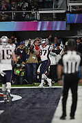 New England Patriots tight end Rob Gronkowski (87) dances and celebrates after catching a 4 yard touchdown pass good for a 33-32 fourth quarter Patriots lead while covered by Philadelphia Eagles cornerback Ronald Darby (41) during the 2018 NFL Super Bowl LII football game against the Philadelphia Eagles on Sunday, Feb. 4, 2018 in Minneapolis. The Eagles won the game 41-33. (©Paul Anthony Spinelli)