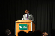 Tyrone Carr, chair of the Martin Luther King Jr Day celebration committee, speaks at the 15th Annual Martin Luther King Jr. Brunch in Baker University Ballroom on Monday, January 19.