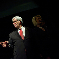 Republican Presidential candidate NEWT GINGRICH greets supporters at a morning town hall rally in Magnolia Hall.  The South Carolina primary is on 21 January.