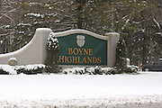 The main entrance sign at Boyne Highlands in Harbor Springs.