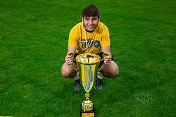 Domen Jugovar during celebration of NK Bravo, winning team in 2nd Slovenian Football League in season 2018/19 after they qualified to Prva Liga, on May 26th, 2019, in Stadium ZAK, Ljubljana, Slovenia. Photo by Vid Ponikvar / Sportida