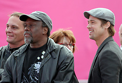 Dec 03 2007. New Orleans, Louisiana. Lower 9th Ward.<br /> Brad Pitt revisits the Lower 9th ward, devastated by Hurricane Katrina to present 'Make it Right' where architects' designs are unveiled to the public. Brad and local resident Robert Green, local advocate who lost his mother and grandaughter to the storm.<br /> Photo credit; Charlie Varley.