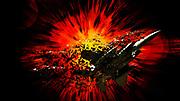 Digitally enhanced image a McDonnell Douglas F-15 Eagle as a flies past a supernova affect