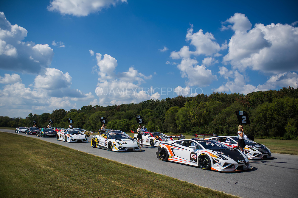 October 3-5, 2013. Lamborghini Super Trofeo - Virginia International Raceway. Grid before race 1.
