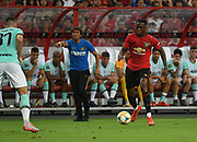 Manchester United's Aaron Wan Bissaka runs at the Inter Milan defence during an International Champions Cup game won by Manchester United 1-0, Saturday, July 20, 2019, in Singapore. (Kim Teo/Image of Sport)