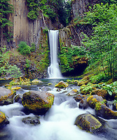 This super cool image is Toketee Waterfall and basalt formation in Oregon. This old school large format photo brought me 10 Grand for one year usage rights from a large corporation back in the day.  They purchased the rights for it because of its lush green colors.