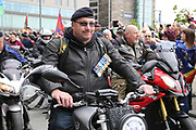 Bikers arrive at Salford Quays during the Soldier F Protest at Media City, Salford, United Kingdom on 18 May 2019.
