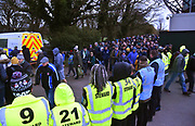 Stewards line up to direct fans out of Home Park stadium after the EFL Sky Bet League 1 match between Plymouth Argyle and Portsmouth at Home Park, Plymouth, England on 9 February 2019.