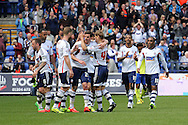 Bolton Wanderer's players celebrate their second goal. Skybet football league championship match , Bolton Wanderers v Birmingham city at the Reebok stadium in Bolton on Saturday 3rd May 2014.<br /> pic by David Richards, Andrew Orchard sports photography.