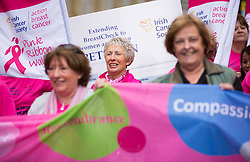 Repro Free: 30/09/2014<br /> Penny McGowan from Kells Co Meath joined the Irish Cancer Society and cancer campaigners from across Ireland as they submit a petition to Government, calling on the Minister for Health to take action and include extending the breast cancer screening programme for women aged 65-69 in the HSE&rsquo;s Services Plan for 2015. The Government said the extension of BreastCheck would take place during 2014 but then made a decision to defer it. At least eighty-seven lives are being lost to breast cancers every year due to the delay in screening the upper age group of women.  Picture Andres Poveda