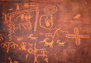 Ancient petroglyphs at Atlatl Rock in the Valley of Fire State Park, Nevada