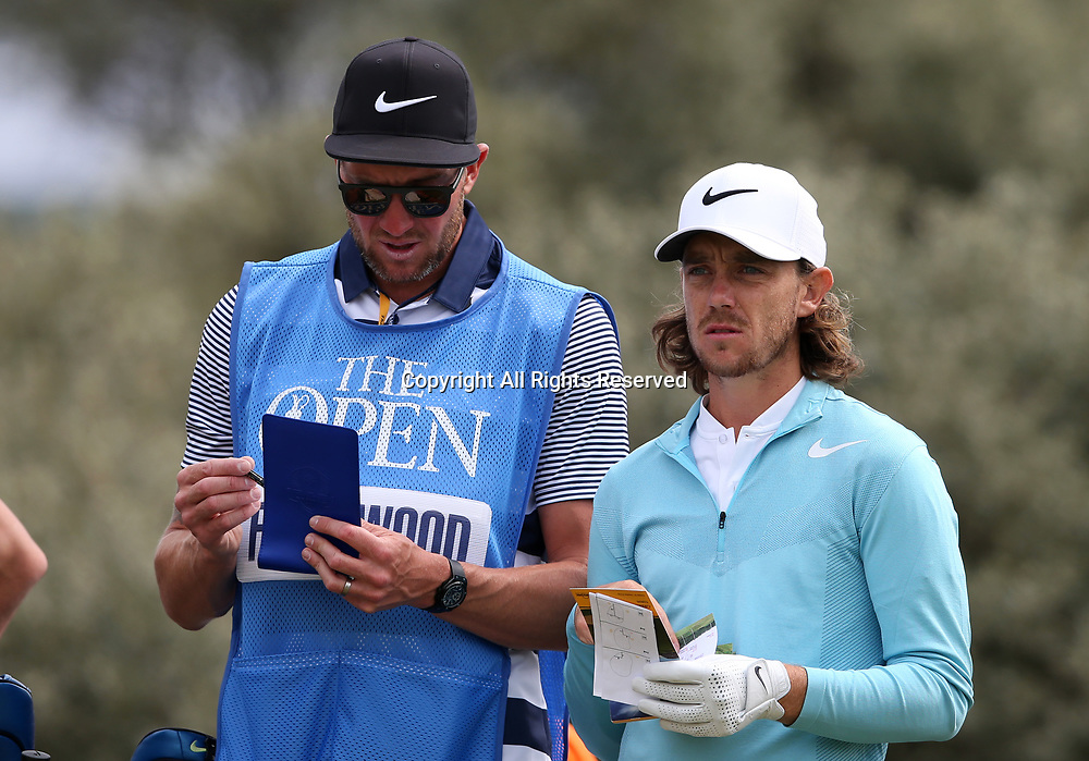 July 19th 2017, Royal Birkdale Golf Club, Southport, England; The 146th Open Golf Championship, Final Practice Day; Tommy Fleetwood (ENG) confers with his caddie Ian Finnis on the tee of the third hole