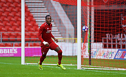 ST HELENS, ENGLAND - Wednesday, October 24, 2018: Liverpool's Rafael Camacho celebrates scoring a goal but it was disallowed for offsite during the UEFA Youth League Group C match between Liverpool FC and FK Crvena zvezda at Langtree Park. (Pic by David Rawcliffe/Propaganda)