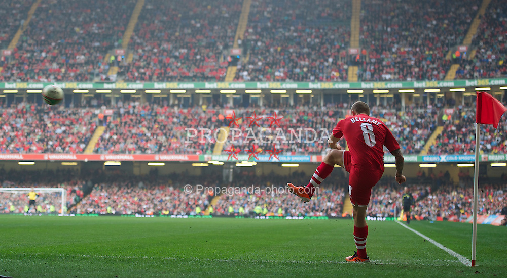 CARDIFF, WALES - Saturday, March 26, 2011: Wales' Craig Bellamy takes a corner during the UEFA Euro 2012 qualifying Group G match against England at the Millennium Stadium. (Photo by Chris Brunskill/Propaganda)