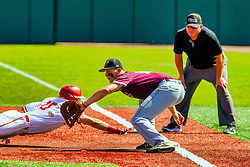 20 May 2019:  Tim Catton watches a put out attempt on Gunner Peterson with a throw to 1st baseman J.T. Weber. Missouri Valley Conference Baseball Tournament - Southern Illinois Salukis v Illinois State Redbirds at Duffy Bass Field in Normal IL<br /> <br /> #MVCSPORTS