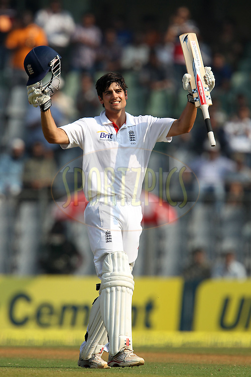 Alastair Cook - Captain of England celebrates his century ( 100, ton ) during day 3 of the 2nd Airtel Test match between India and England held at the Wankhede Stadium in Mumbai, India on the 25th November 2012...Photo by Ron Gaunt/ BCCI/ SPORTZPICS..Use of this image is subject to the terms and conditions as outlined by the BCCI. These terms can be found by following this link:..http://www.sportzpics.co.za/image/I0000SoRagM2cIEc