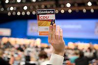 02 DEC 2008, BERLIN/GERMANY:<br /> Stimmkarte, CDU Bundesparteitag, Messe Stuttgart<br /> IMAGE: 20081202-01-092<br /> KEYWORDS: Parteitag, party congress, abstimmung