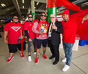 Sir Peter Leitch with Tonga fans, Kiwis v Tonga, Rugby League World Cup, FMG Stadium, Hamilton, New Zealand. Saturday, 11 November, 2017. Copyright photo: John Cowpland / www.photosport.nz