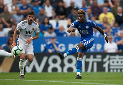 Demarai Gray of Leicester City (R) has a shot at goal - Mandatory by-line: Jack Phillips/JMP - 18/08/2018 - FOOTBALL - King Power Stadium - Leicester, England - Leicester City v Wolverhampton Wanderers - English Premier League