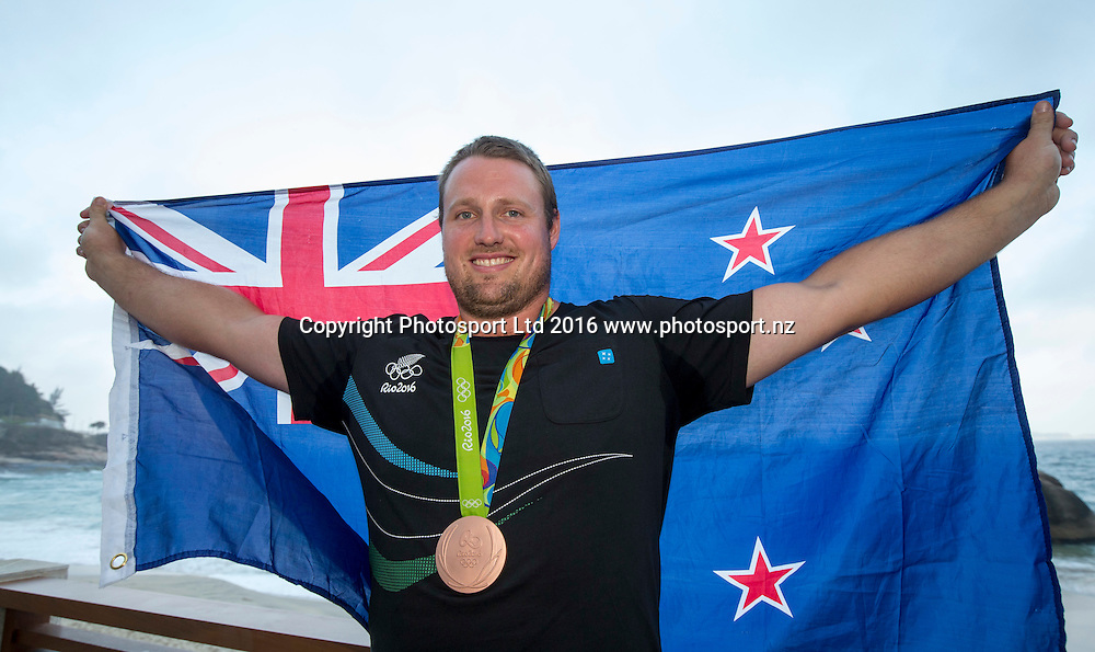 New Zealand's Tomas Walsh, Bronze medal, mens shotput,  Rio Olympics Games 2016, Rio de Janeiro. 19 August, 2016. Copyright photo: John Cowpland / www.photosport.nz