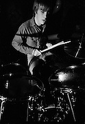 U2 -  Larry Mullen drummer at a rehearsal session at Shepperton Studios - 1982