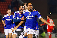 Korey Smith of Oldham Athletic celebrates scoring his first goal of the game to make it 1-1 with Connor Brown of Oldham Athletic during the Sky Bet League 1 match at the Matchroom Stadium, London<br /> Picture by David Horn/Focus Images Ltd +44 7545 970036<br /> 25/03/2014
