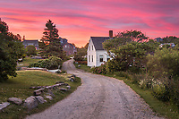 One of my favorite views on Monhegan is walking towards the landing from fish beach, where you pass the community bulletin board and this picturesque white house appears around a bend in the road. I was lucky enough to capture a beautiful sunset on this perfect June day to complete the scene.