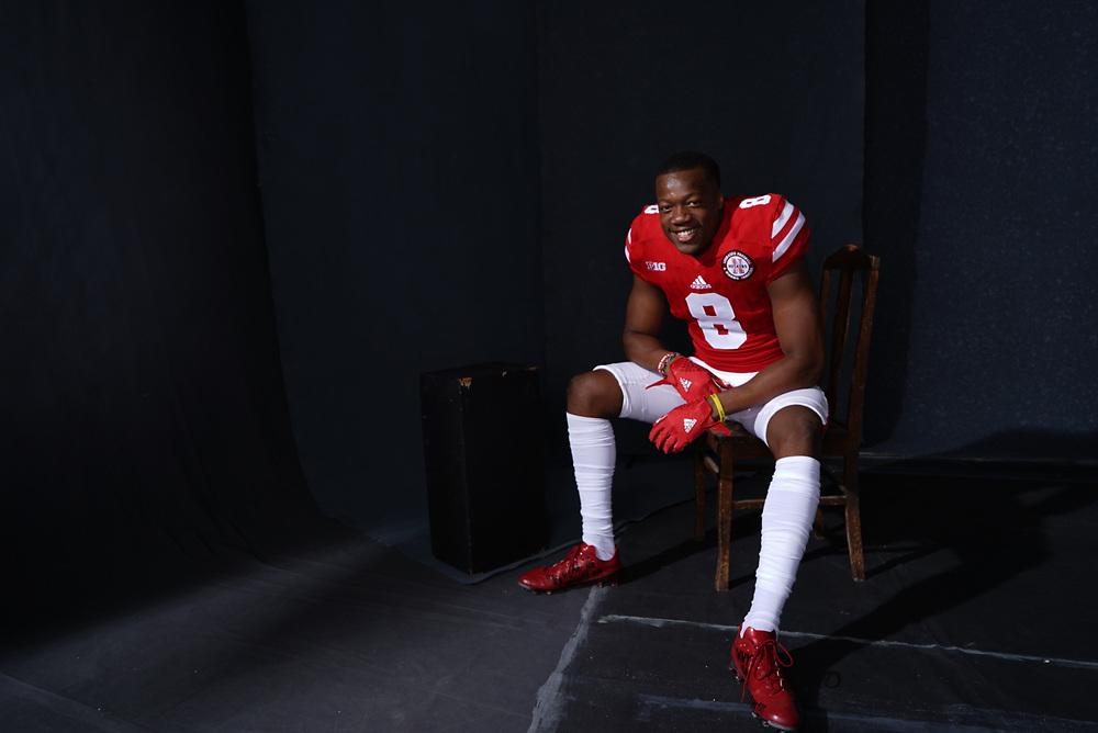 Chris Jones #8 during a portrait session at Memorial Stadium in Lincoln, Neb. on June 6, 2017. Photo by Paul Bellinger, Hail Varsity
