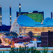 Downtown Kansas City's Kauffman Center for the Performing Arts in the evening, view from Penn Valley Park.
