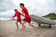 Lifeguards on Portmarnock beach for Fingal County Council Environment Department. Portmarnock, Co. Dublin, July 2010.