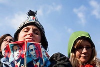 20 January, 2009. Washington, DC. People listen to the inauguration speech of Barack Obama as the 44th President of the United States on the National Mall. About 2 millions of people gathered at the National Mall in Washington D.C. for the inauguration of the 44th President of the United States, Barack Obama. Obama, the nation's first black chief executive, told the nation in his address that shared sacrifice would be necessary to return to peace and posperity.<br /> ©2009 Gianni Cipriano<br /> cell. +1 646 465 2168 (USA)<br /> cell. +1 328 567 7923 (Italy)<br /> gianni@giannicipriano.com<br /> www.giannicipriano.com