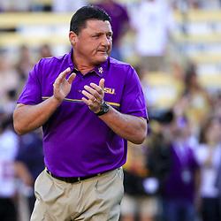 Oct 1, 2016; Baton Rouge, LA, USA;  LSU Tigers interim head coach Ed Orgeron before a game against the Missouri Tigers at Tiger Stadium. Mandatory Credit: Derick E. Hingle-USA TODAY Sports