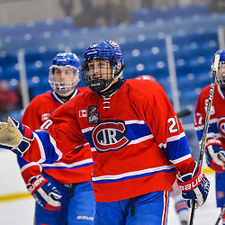 OAKVILLE, ON  - FEB 23,  2018: Ontario Junior Hockey League game between the Oakville Blades and the Toronto Jr. Canadiens, Justin Verance #20 of the Toronto Jr. Canadiens celebrates a goal during the third period.<br /> (Photo by Ryan McCullough / OJHL Images)