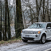 Land Rover LR2 on snow covered road