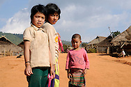 Burma/Myanmar. Akha children in the village.